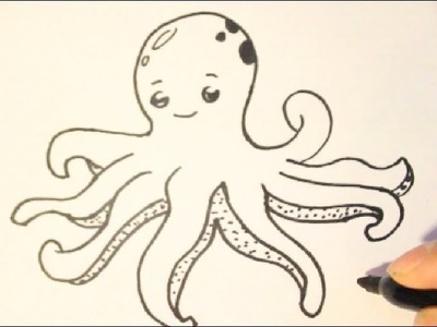 How to Draw an Octopus|How to Draw Cartoon Characters|Step By Step
