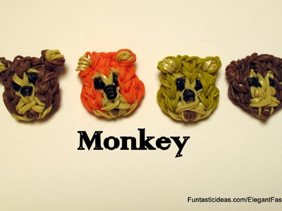 Rainbow Loom Monkey Face Emoji.Emoticon Charm - How to