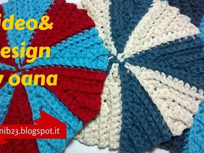Crochet swirl pot holder