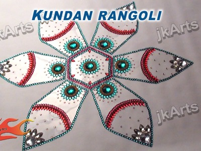 DIY Kundan Rangoli Design on OHP Sheet | How to make | JK Arts  349