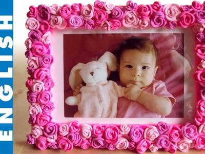 Pink roses frame DIY