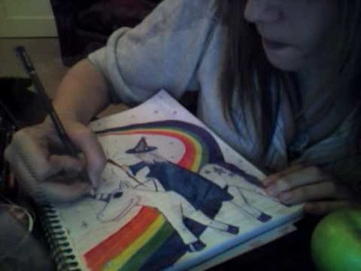 Re: A Wizard riding a unicorn down a rainbow in space (art comp)