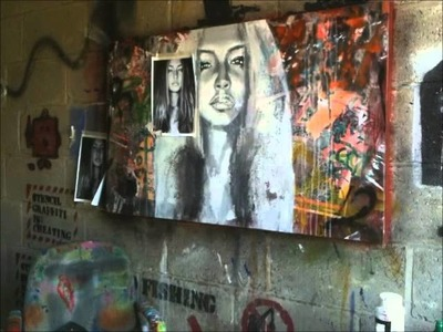 Time Lapse Art - Mixed Media Girl Portrait on Canvas - Joe Slatter