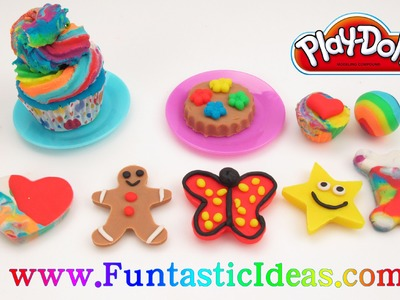 Unboxing Play Doh Candy Jar + How to tutorial for Gingerbread Boy, Butterfly, Rainbow Cupcake, Heart
