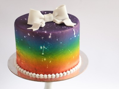 Distressed Airbrushed Rainbow Cake