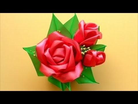 How to create a beautiful Roses composition of satin ribbons in the art Kanzashi