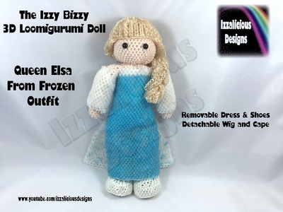 Loomigurumi Izzy Bizzy Doll - Elsa Dress - hook only - amigurumi with Rainbow Loom Bands