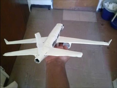 Plane Model made from toilet paper rolls, a cereal box and 2 spraycan