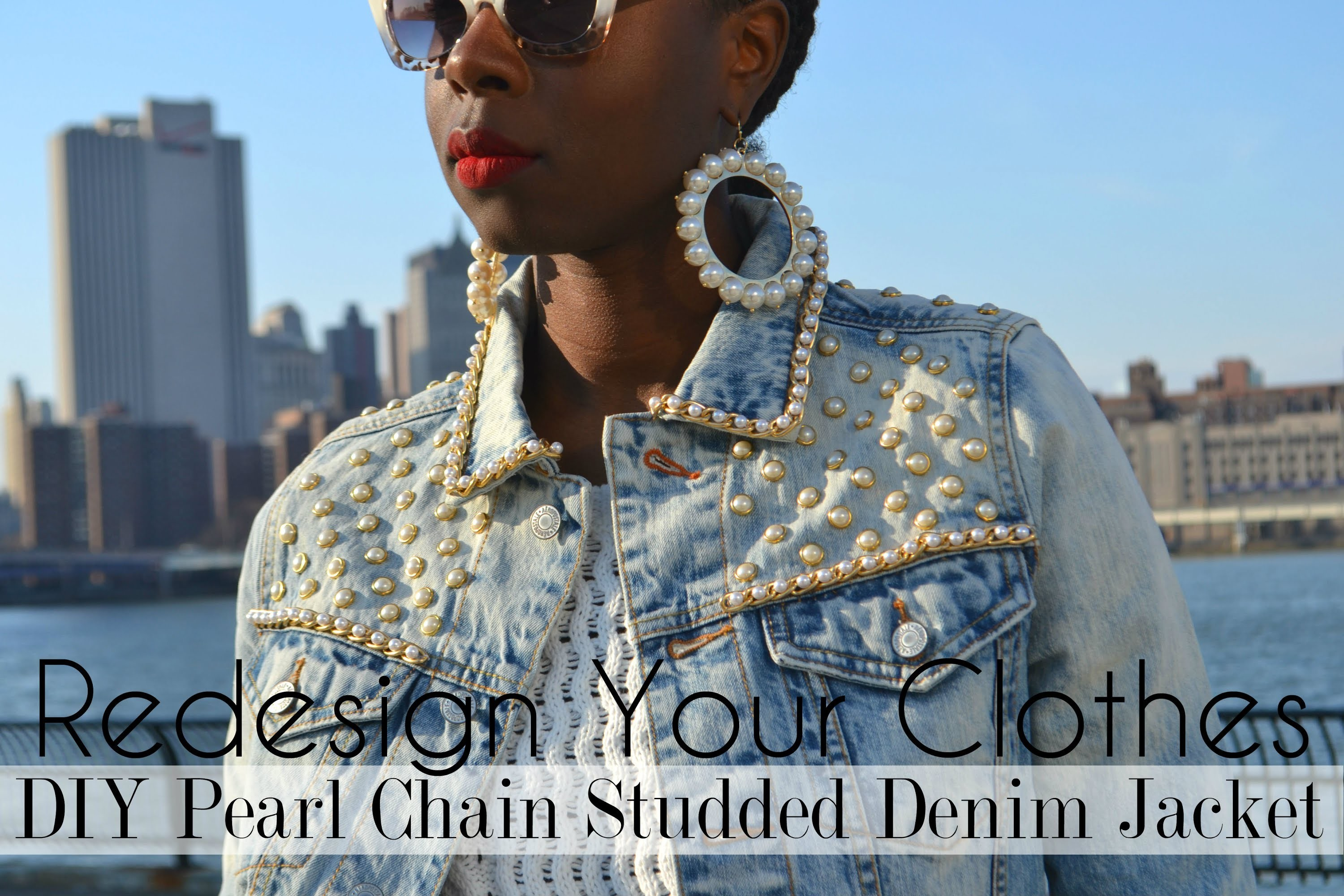 (RYC) 19: DIY Pearl Chain Studded Denim Jacket