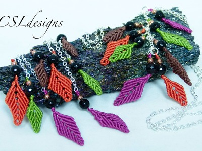 Autumn leaves macrame earrings.necklace
