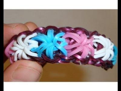 Como hacer pulsera de gomas rainbow loom bands estrellas con telar