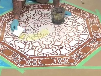 Concrete Stenciling with Acid-Etching Gel