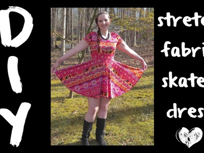 DIY Stretch Fabric Skater Dress with Sleeves - How to Sew - Tutorial with Circle Skirt