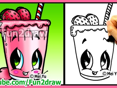 How to Draw Easy Things - Fruit Smoothie + Funny Extra Drawing - Fun2draw Food Drink