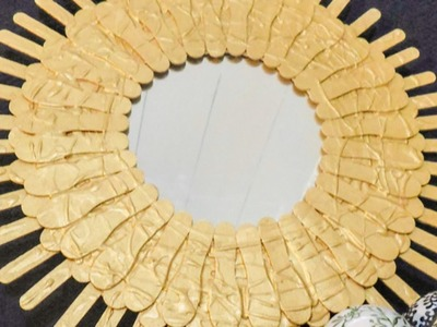 How To Make a Pretty Popsicle Stick Sunburst Mirror - DIY Home Tutorial - Guidecentral