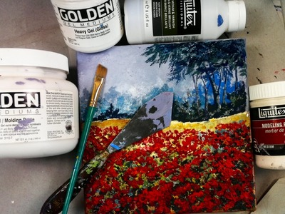 How to paint a field of  textured poppies landscape Part one.  2