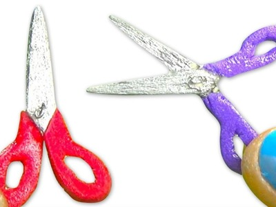 Miniature doll scissors tutorial - School supplies - Dollhouse DIY