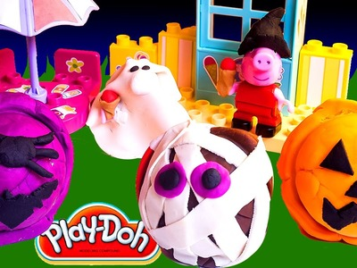 Creepy Play Doh Ice Creams DIY Halloween Peppa Pig Ice Cream Parlor Building Toys Heladería Helados