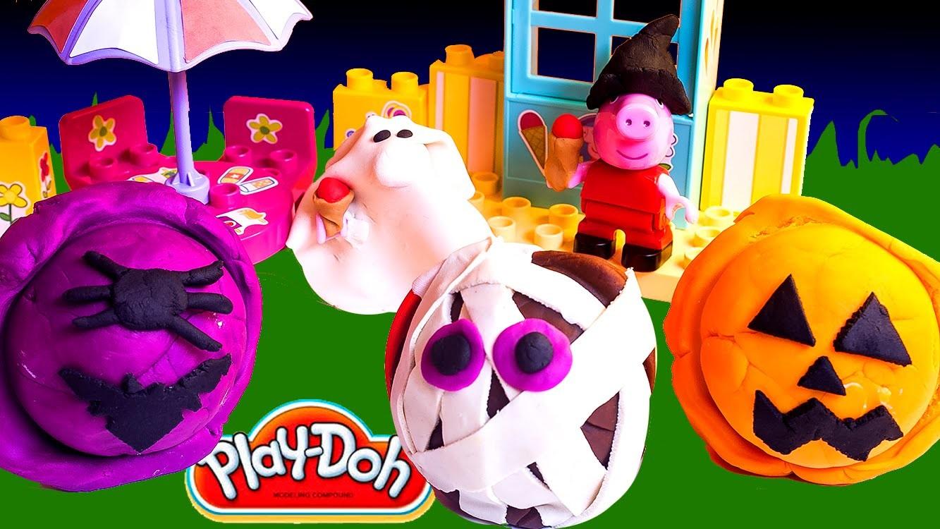 Creepy Play Doh Ice Creams DIY Halloween Peppa Pig Ice Cream Parlor Building Toys Heladería Helados