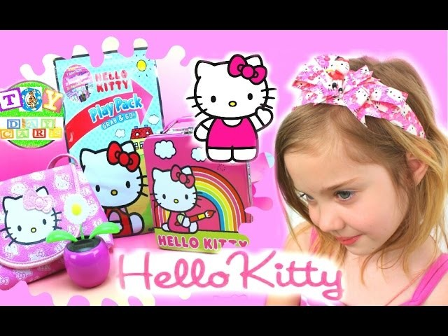 HUGE HELLO KITTY TOY COLLECTION DIY Headband Lunch Box Purse with Surprises Play Pack Grab and Go