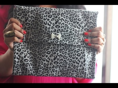 DIY EASY NO SEW CLUTCH. MAKE UP BAG