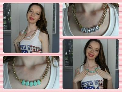 DIY   Rhinestone.Chain Necklace (Easy)
