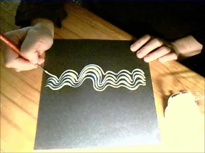 Don't Fall In!  Experimenting With Painted Wavy White Lines on a Dark Surface.