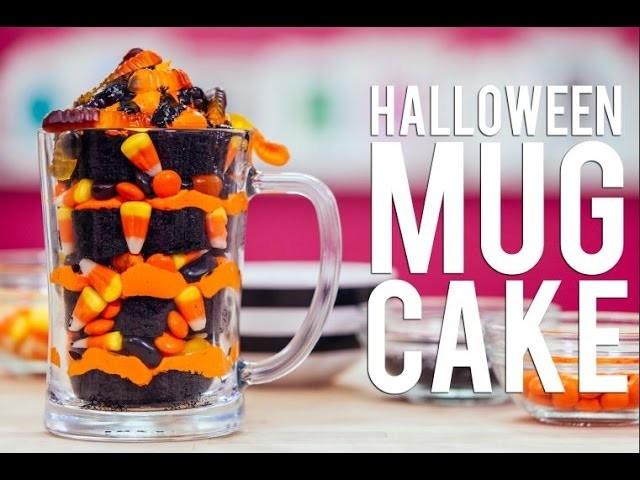 How To Make A HALLOWEEN MUG CAKE! Chocolate Cake, Black Ganache and Gummy Worms!