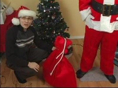 How to Make a Santa Claus Costume : How to Use a Bag of Toys in a Santa Costume