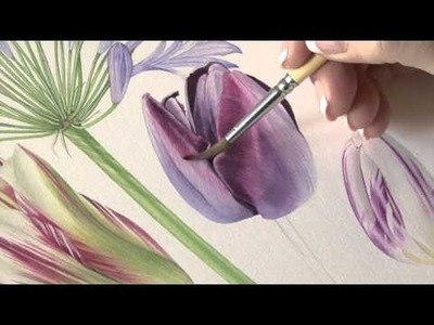 How to paint Queen of the Night Tulips in watercolour by Billy Showell