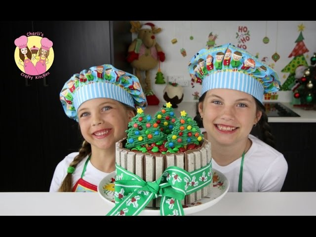 KIT-KAT CHRISTMAS CAKE with m&ms - Cake Decorating Tutorial - charliscraftykitchen - how to baking