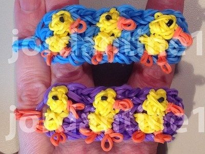 New Duckling Bracelet - Spring Easter Chick - Advanced - Rainbow Loom, Wonder Loom, Crazy Loom