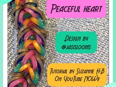 Peaceful Heart bracelet tutorial (hook only) rainbow loom bands