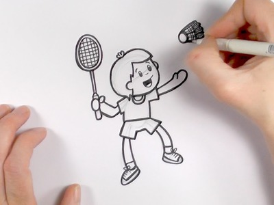 How to Draw a Cartoon Boy Playing Badminton