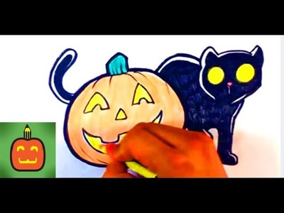 How to Draw a Cat and Jack-O-Lantern - Halloween Drawings
