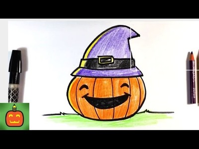 How to Draw Halloween Pumpkin with Hat - Halloween Drawings