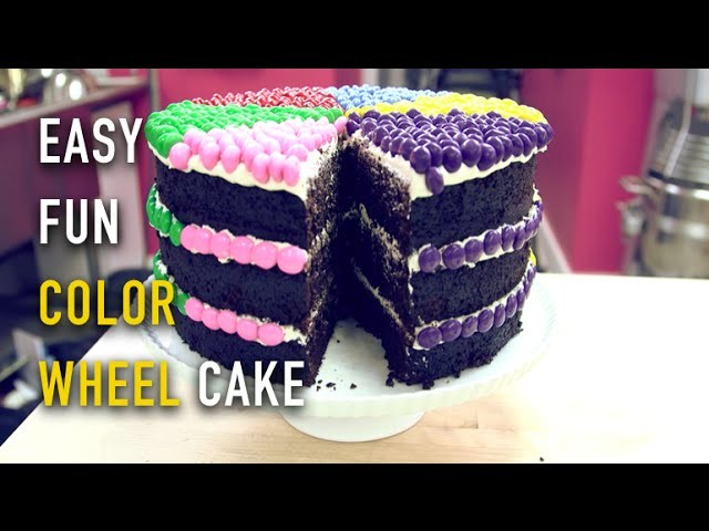 How to Make A COLOR WHEEL CAKE with SMARTIES! An Easy, DIY Colorful Kids Cake!