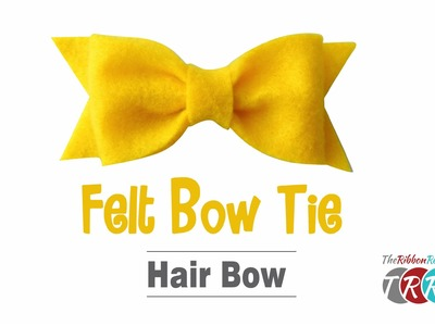 How to Make a Felt Bow Tie Hair Bow - TheRibbonRetreat.com
