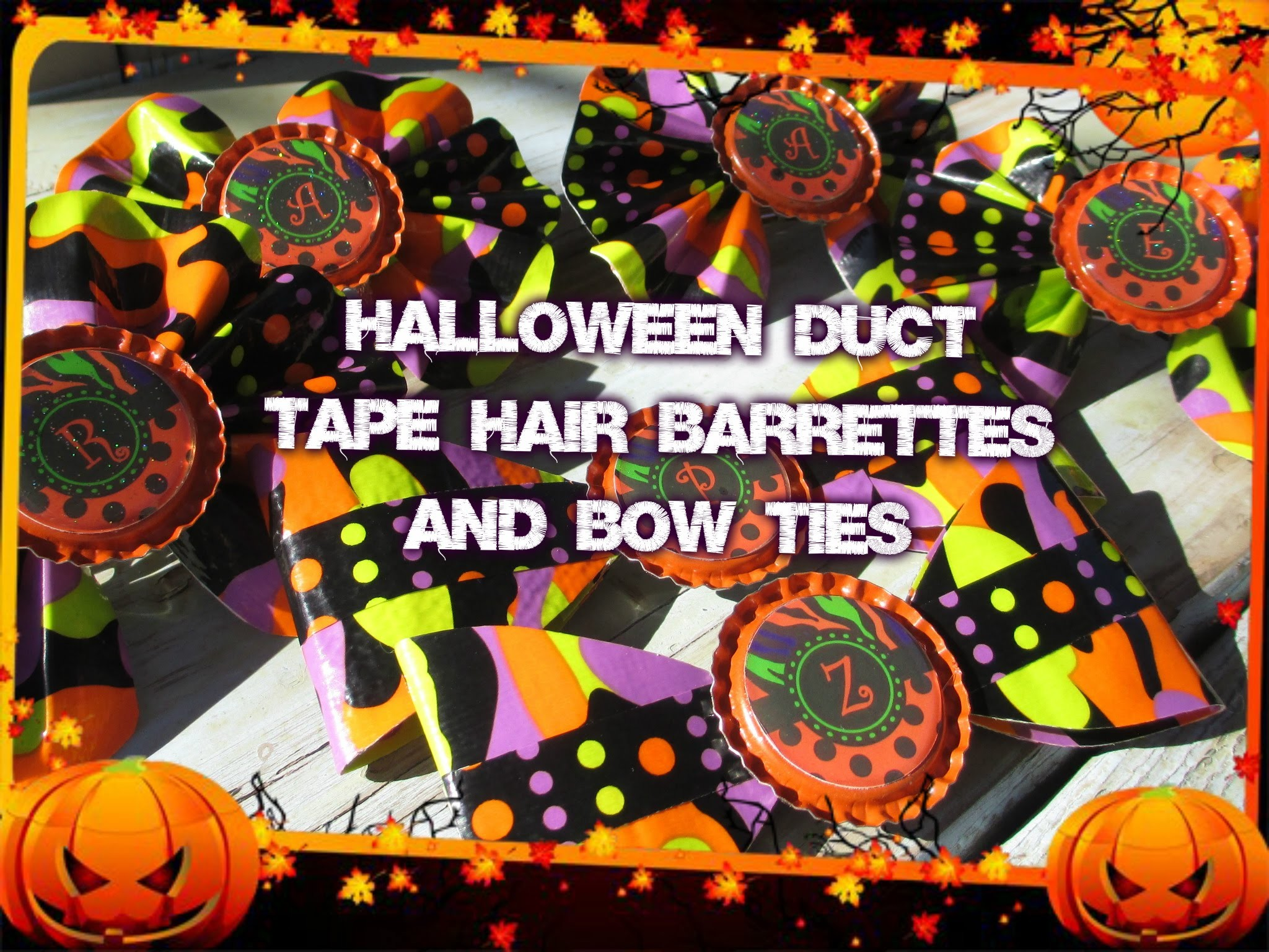 How to Make Duct Tape Hair bows with Bottle Cap Monograms for Halloween or Anytime