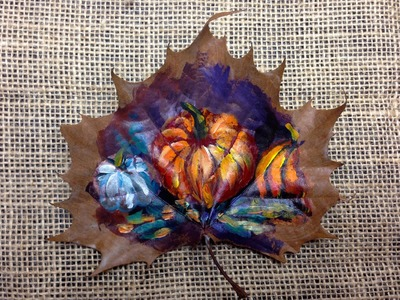 How to paint on a  leaf | Fall pumpkins | The Art Sherpa