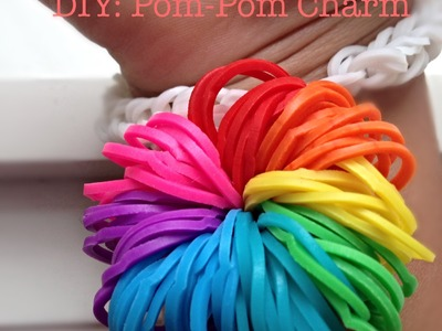 NEW easy rainbow loom pom-pom charm WITHOUT LOOM!