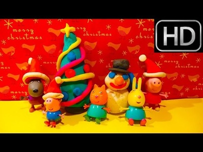 Play Doh CHRISTMAS Peppa Pig  How to make Presents Snowman Tree Surprise eggs