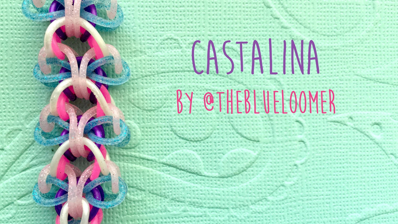 Rainbow Loom Bands Castalina By @TheBlueLoomer (No Hook, No Loom, two peg tutorial)
