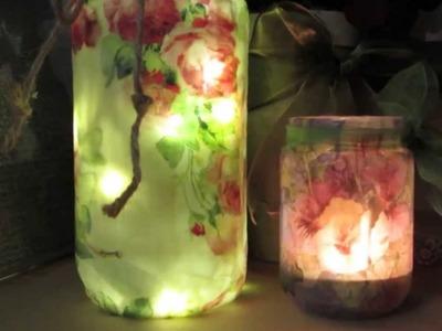 Repurpose Glass Jars Faux Encaustic Decoupage !