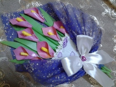 Best Out Of Waste Plastic Cans transformed to Calla lily Mini Bouquet