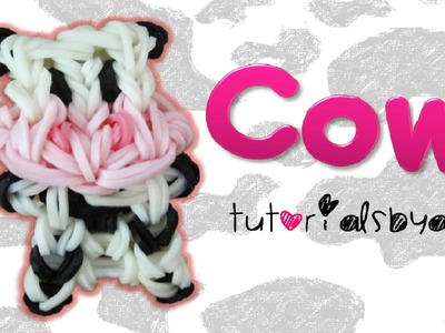 {Bobble Head} Cow Charm.Mini Figurine Rainbow Loom Tutorial