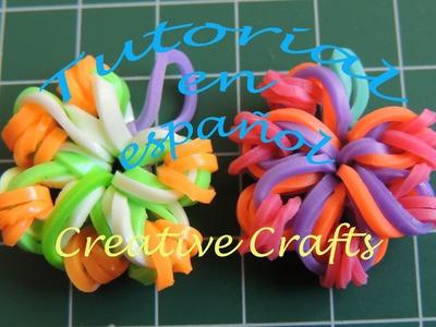 Como hacer flores con gomitas Sin Telar. Rainbow Loom Flowers.