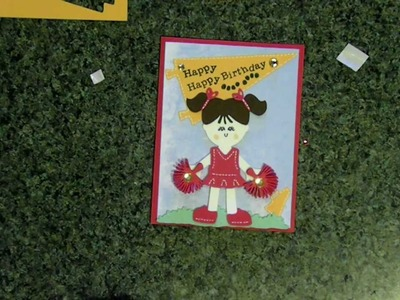 "Cricut ""Happy  Happy Birthday"" cheerleader card Everyday paper dolls cartridge"
