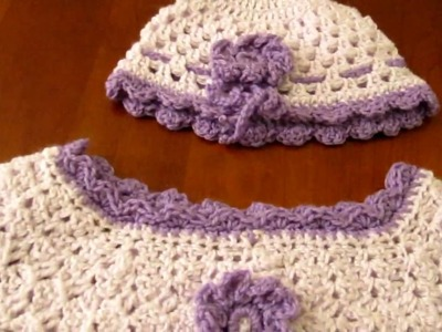 Crochet child's dress and matching hat