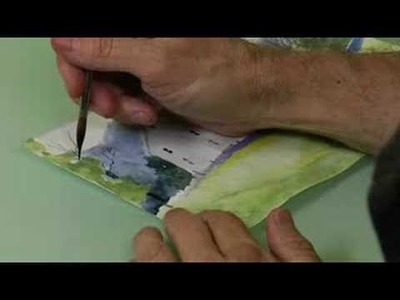 How to Paint a Watercolor Landscape With Houses : Adding Split Trunk Tree for a Watercolor Landscape